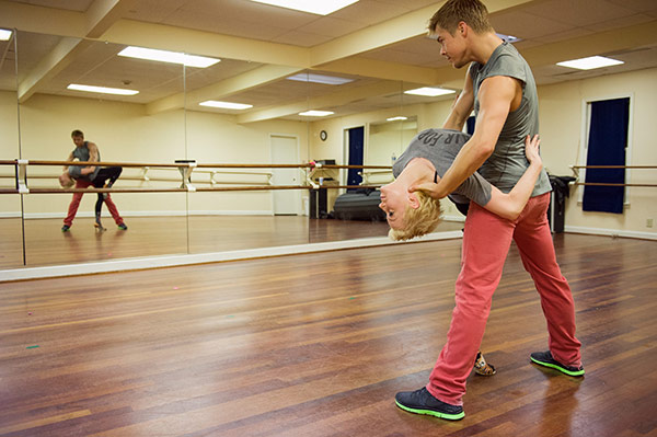 'Dancing With The Stars' season 16 cast members Kellie Pickler and Derek Hough rehearse ahead of the premiere on Mar