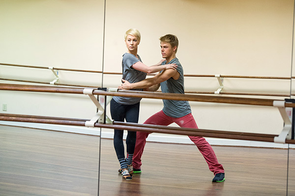 'Dancing With The Stars' season 16 cast members Kellie Pickler and Derek Hough rehearse ahead of the premiere on Marc