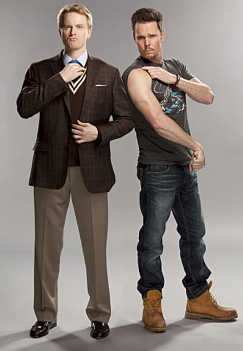 Still image of David Hornsby and Kevin Dillon from the show 'How to be a Gentleman.'