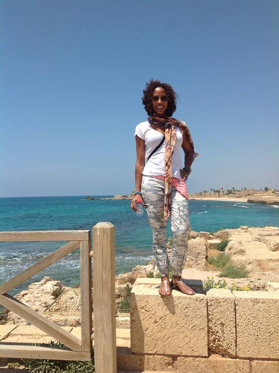 Holly Robinson Peete poses near the coast of the northern Israeli city of Haifa on May 7, 2012, when they began a trip to Israel.