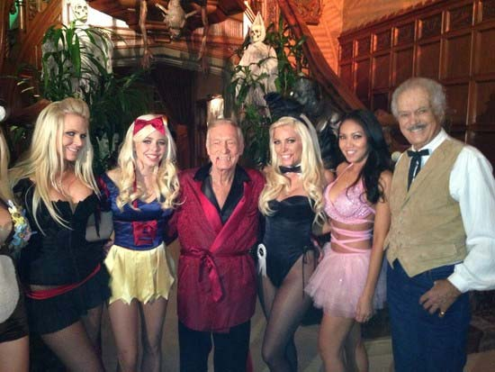 Hugh Hefner appears in a photo posted on her official Twitter page on October 29, 2012, with the caption, &#39;The whole gang on Halloween! @CrystalHarris @trishafrick @cayaukkas Keith &amp; myself&#39; <span class=meta>(Twitter.com&#47;hughhefner)</span>