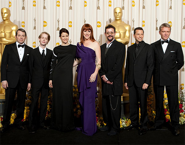 Matthew Broderick, Macaulay Culkin, Ally Sheedy, Molly Ringwald, Judd Nelson, Jon Cryer and Anthony Michael Hall backstage during the 82nd Annual Academy Awards at the Kodak Theatre in Hollywood, CA, on Sunday, March 7, 2010.
