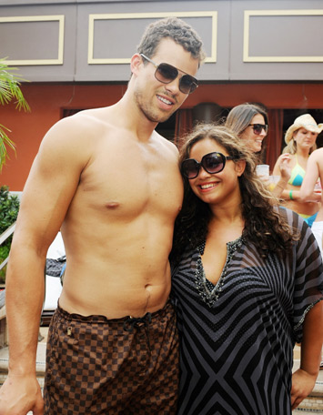 Kris Humphries and his sister Kaela spend Sunday, July 24, 2011, soaking in the sun at TAO Beach for Beatport Sundays as part of his bachelor party celebrations ahead of his wedding to Kim Kardashian. <span class=meta>(Denise Truscello &#47; TAO Beach)</span>