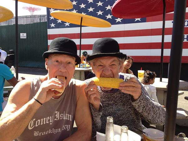 Patrick Stewart shared this Twitter photo of himself and friend and &#39;X-Men&#39; co-star Ian McKellen on Sept. 25, 2013, saying: &#39;Nathan&#39;s #gogodididonyc @TwoPlaysInRep&#39; -- referring to the Broadway plays &#39;Harold Pinter&#39;s No Man&#39;s Land&#39; and Samuel Beckett&#39;s &#39;Waiting for Godot&#39; that feature the two actors. Nathan&#39;s is a popular hot dog chain. <span class=meta>(pic.twitter.com&#47;1w0qay8Q19 &#47; twitter.com&#47;SirPatStew&#47;status&#47;382922063695990784&#47;photo&#47;1)</span>