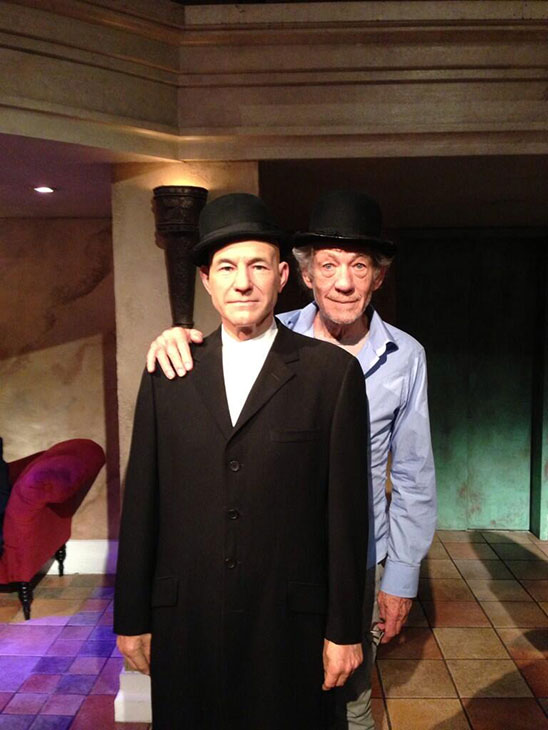Patrick Stewart shared this Twitter photo of a wax figure of himself and friend and &#39;X-Men&#39; co-star Ian McKellen on Oct. 30, 2013 in New York City, saying: &#39;Wax! #gogodididonyc @TwoPlaysInRep&#39; -- referring to the Broadway plays &#39;Harold Pinter&#39;s No Man&#39;s Land&#39; and Samuel Beckett&#39;s &#39;Waiting for Godot&#39; that feature the two actors. <span class=meta>( pic.twitter.com&#47;iBVg4XEe00 &#47; twitter.com&#47;SirPatStew&#47;status&#47;395545404924002304&#47;photo&#47;1)</span>
