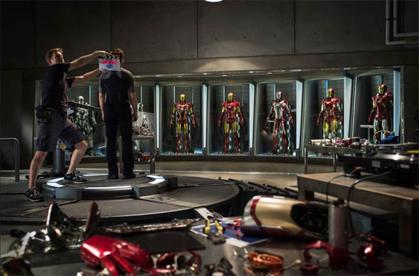 A behind-the-scenes photo of Iron Man 3, which began filming in North Carolina in late May 2012. - Provided courtesy of Walt Disney Studios