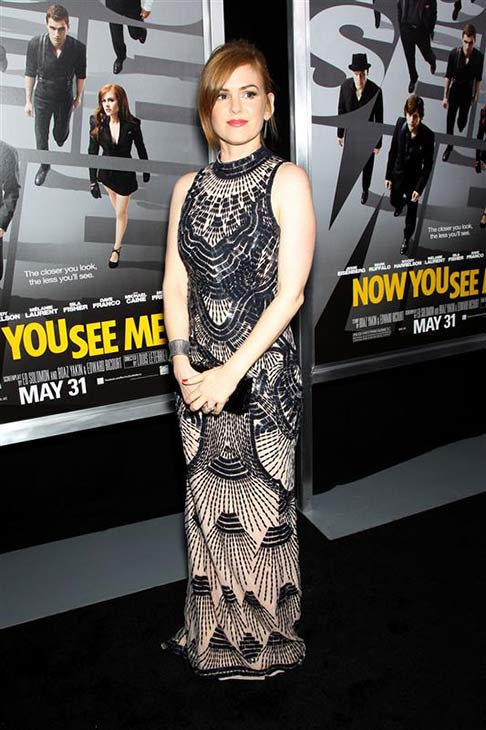 Isla Fisher wears a L&#39;Wren Scott black and nude embellished Art Deco gown at the premiere of &#39;Now You See Me&#39; at AMC Lincoln Square in New York on May 21, 2013. <span class=meta>(Marion Curtis &#47; Startraksphoto.com)</span>