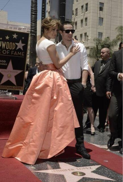Jennifer Lopez receives her star on the Hollywood Walk of Fame on Thursday, June 20. The star is located at 6262 Hollywood Boulevard in front of the W Hollywood Hotel.  The starlet Tweeted this photo of her and Casper Smart at the event, posting: &#39;With my Beau...:&#41; @BEAUcasperSMART #HollywoodWalkOfFame&#39; <span class=meta>(OTRC)</span>