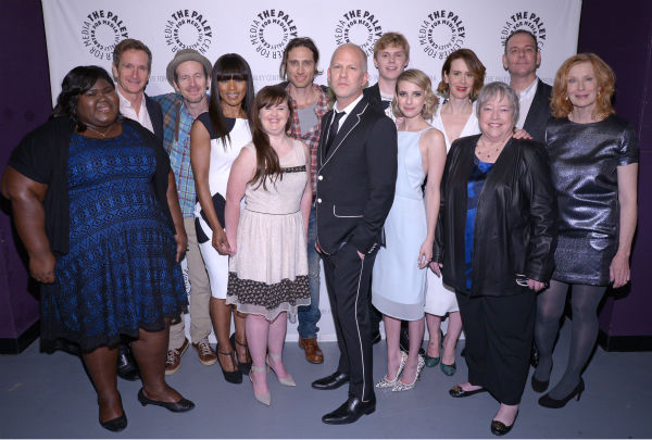 &#39;American Horror Story: Coven&#39; star, L-R&#41;: Gabourey Sidibe, executive producer Dante Di Loreto, Denis O?Hare, Angela Bassett, Jamie Brewer, co-creator &#47; executive producer Brad Falchuk, co-creator &#47; executive producer Ryan Murphy,  Evan Peters, Emma Roberts, Sarah Paulson, Kathy Bates, executive producer Tim Minear and Frances Conroy attend a PaleyFest event celebrating the show and the upcoming fourth season, &#39;Freakshow.&#39; The panel discussion was presented by the Paley Center for Media at the Dolby Theatre in Hollywood, California on March 28, 2014. <span class=meta>(Rob Latour for Paley Center for Media)</span>