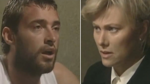 Hugh Jackman appears in a scene alongside his future wife Deborra-lee Furness in the 1995 Australian television drama 'Corelli.'