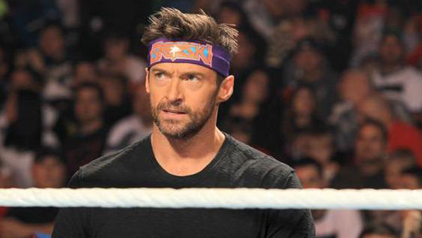 Hugh Jackman appears on 'WWE Monday Night Raw' on September 19, 2011.