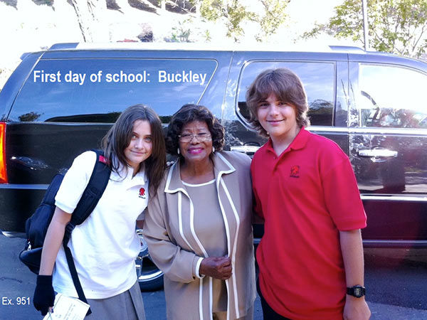 "<div class=""meta ""><span class=""caption-text "">L-R: Michael Jackson's daughter Paris, mother Katherine and son Prince are seen in this undated photo, taken on their first day at a new school following his death in June 2009. The image was presented as evidence during the singer's wrongful death trial in Los Angeles on June 26, 2013. His family is suing concert promoter AEG Live. (OTRC / Official trial exhibit - Los Angeles Superior Court)</span></div>"