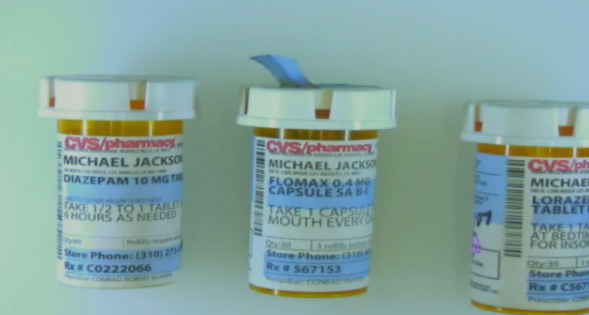 "<div class=""meta ""><span class=""caption-text "">Oct. 5, 2011: During Conrad Murray's involuntary manslaughter trial, L.A. Coroner's Office investigator Elissa Fleak identified items she recovered from the bedroom where Michael Jackson was found lifeless. Pictured: Bottles of the prescription medications Conrad Murray prescribed to Jackson. One is Diazepam, an anti-anxiety drug, filled on June 20, 2009, The second is Flomax, used to treat urinary problems, filled on June 3, 2009 and the third is Lorazepam, another anti-anxiety agent, filled on April 28, 2009.  (OTRC)</span></div>"