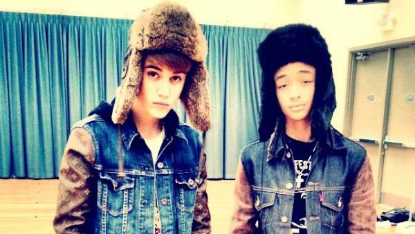 Justin Bieber and Jaden Smith appear in a photo posted on Bieber's official Twitter account on December 1, 2011.