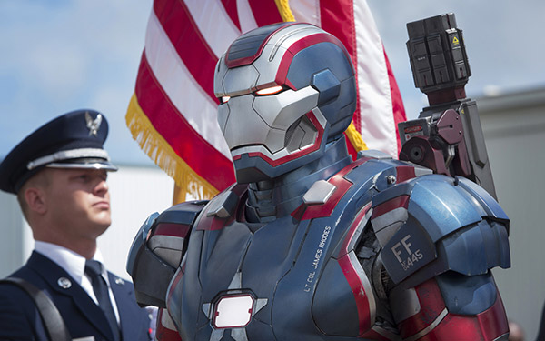 Iron Patriot appears in a scene from Marvel's 'Iron Man 3.'