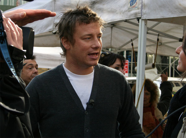 Jamie Oliver appears in Union Square at the green market on Nov. 9, 2008.