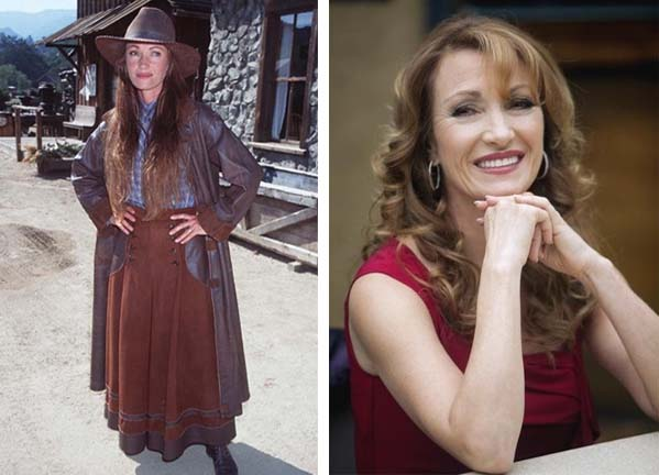Jane Seymour appears in a promotional photo for 'Dr. Quinn, Medicine Woman.' / Jane Seymour appears in a scene from the television series 'Castle.'