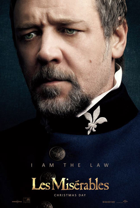 Russell Crowe appears as Javert in an official poster for the 2012 movie 'Les Miserables.'