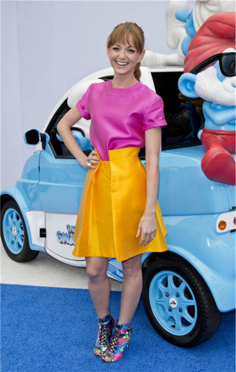 &#39;Glee&#39; actress Jayma Mays attends the premiere of &#39;The Smurfs 2&#39; at the Regency Village Theatre in Westwood, near Los Angeles, on July 28, 2013. <span class=meta>(Lionel Hahn &#47; Abacausa &#47; startraksphoto.com)</span>
