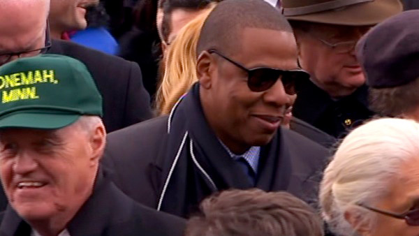 Jay-Z is seen in the crowd after President Barack Obama's ceremonial swearing-in ceremony during the 57th Presidential Inauguration.