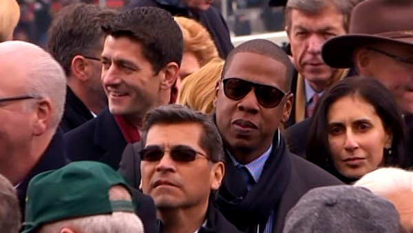 Jay-Z is seen in the crowd after President Barack Obama&#39;s ceremonial swearing-in ceremony during the 57th Presidential Inauguration. <span class=meta>(ABC News)</span>