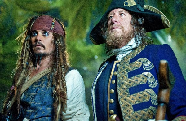 Captain Jack Sparrow &#40;Johnny Depp&#41; and his old nemesis Captain Barbossa &#40;Geoffrey Rush&#41; are thrown together by fate in the search for the Fountain of Youth. <span class=meta>(Peter Mountain &#47; Disney Enterprises)</span>
