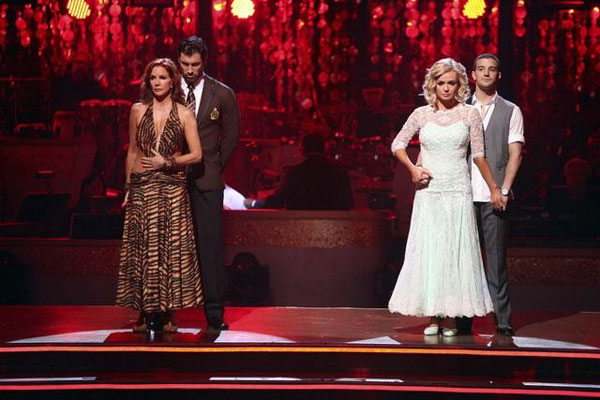 Melissa Gilbert, a former child star who played Laura on 'Little House on the Prairie,' and her partner Maksim Chmerkovskiy wait for elimination with Mark Ballas and Katherine Jenkins on 'Dancing With The Stars: The Results Show' on Tuesday, May 8, 2012.