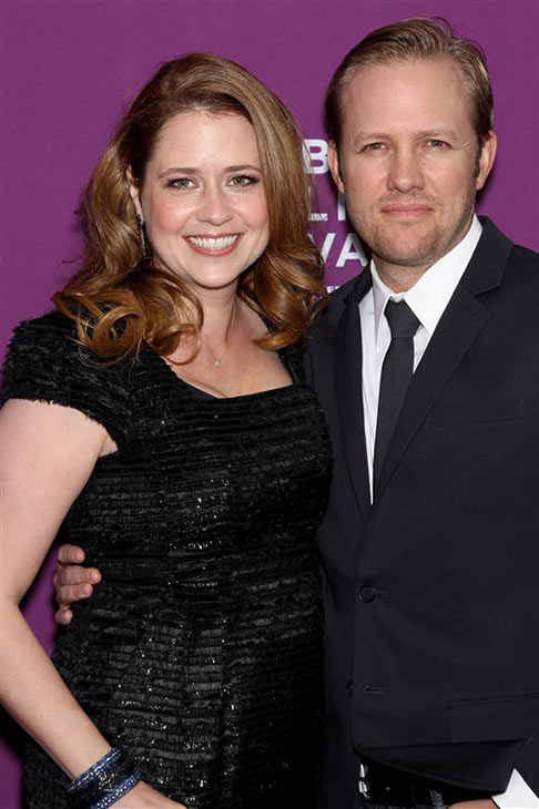 Jenna Fischer and husband Lee Kirk appear at the premiere of 'The Giant Mechanical Man' at the 2012 Tribeca Film Festival in New York on April 23, 2012.