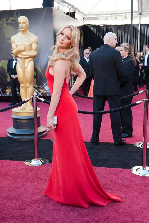 Jennifer Lawrence arrives for the 83rd Annual Academy Awards at the Kodak Theatre in Hollywood, Calif. on Feb. 27, 2011. The actress sizzled in a red Calvin Klein gown which she paired with a metallic clutch and bracelet.The 2013 Oscar ceremony is scheduled to air February 24 on ABC.  <span class=meta>(Darren Decker &#47; A.M.P.A.S.)</span>