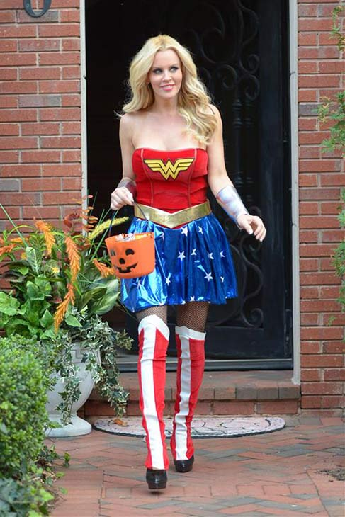 Jenny McCarthy, dressed as Wonder Woman, is seen leaving a building ahead of SVEDKA&#39;s Halloween Bash in New York on Oct. 24, 2013. <span class=meta>(Michael Simon &#47; Startraksphoto.com)</span>