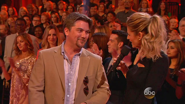 "<div class=""meta ""><span class=""caption-text "">'Dancing With The Stars' co-host Erin Andrews talks to audience member and 'Growing Pains' alum Jeremy Miller (he played Ben Seaver), who dated both contestants and former fellow child stars Candace Cameron Bure of 'Full House'  and Danica McKeller of 'The Wonder Years,' on week 2 on March 24, 2014. (ABC Photo / Adam Taylor)</span></div>"