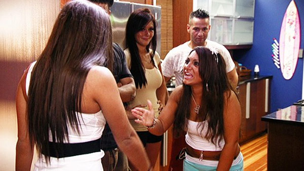 The cast of 'Jersey Shore' appears in a photo from their reality show.
