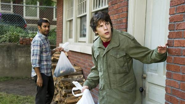 Jesse Eisenberg and Aziz Ansari appear in a scene from the film '30 Minutes or Less.'