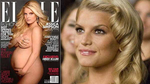 Jessica Simpson appears in a still from her 2007 film, 'Major Movie Star.' / Jessica Simpson appears on the cover of Elle for April 2012.