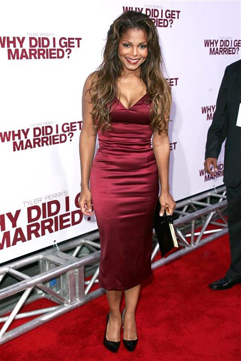 janet Jackson wears a burgundy, satin L&#39;Wren Scott dress at the premiere of Tyler Perry&#39;s &#39;Why Did I Get Married?&#39; in Hollywood, California on Oct. 4, 2007. <span class=meta>(Andy Fossum &#47; Startraksphoto.com)</span>