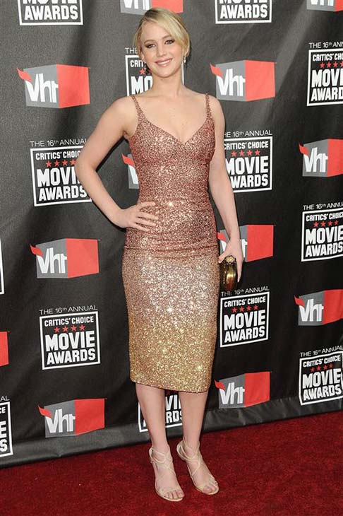 "<div class=""meta image-caption""><div class=""origin-logo origin-image ""><span></span></div><span class=""caption-text"">Jennifer Lawrence wears a glittering L'Wren Scott dress at 2011 Critics' Choice Movie Awards in Los Angeles on Jan. 14, 2011. (Kyle Rover / Startraksphoto.com)</span></div>"