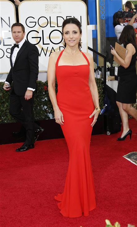 Julia Louis-Dreyfus arrives at the 71st annual Golden Globe Awards at the Beverly Hilton Hotel on Sunday, Jan. 12, 2014, in Beverly Hills, Calif. She celebrated her 53rd birthday a day later. <span class=meta>(Sara De Boer &#47; Startraksphoto.com)</span>