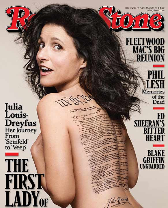"<div class=""meta image-caption""><div class=""origin-logo origin-image ""><span></span></div><span class=""caption-text"">Julia Louis-Dreyfus of 'Veep' and 'Seinfeld' fame appears nude on the cover of Rolling Stone's April 24, 2014 issue. (See the full image on RollingStone's website (warning: NSFW and contains explicit content and offensive language.) (Rolling Stone / Mark Seliger)</span></div>"