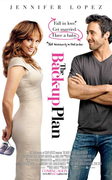Jennifer Lopez appears in an advertisement for the movie 'The Back-up Plan.'