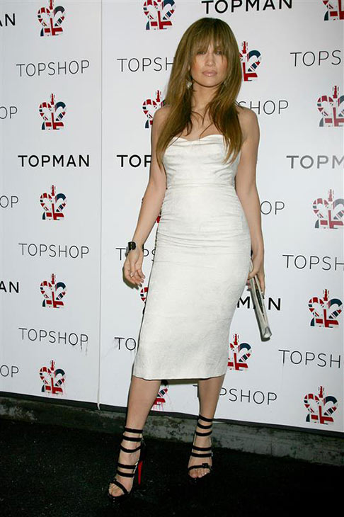 Jennifer Lopez wears a white L&#39;Wren Scott dress at the launch of the Topshop Topman flagship store in New York on April 1, 2009. <span class=meta>(Dave Alloca &#47; Startraksphoto.com)</span>
