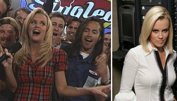 To the left, Jenny McCarthy appears in a scene from the 1990s MTV game show 'Singled Out' / At right, she appears in a still from 'Chuck.'