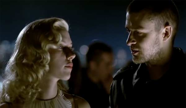 "<div class=""meta ""><span class=""caption-text "">Scarlett Johansson appears in Justin Timberlake's music video 'What Goes Around...Comes Around,' released in 2007. Johansson plays Timberlake's love interest in the video, and Timberlake eventually introduces her to his very intoxicated friend, played by Shawn Hatosy. Timberlake tells his friend to look after her and that she's the one, but finds them later kissing in the stairway despite his feelings. In the end of the video, a car chase involving Johansson and Timberlake ensues, ending with Timberlake kneeling over Johansson's motionless body. Johansson is known for her roles in movies such as 'The Prestige' and 'Iron Man 2.' (Zomba Recording, LLC.)</span></div>"