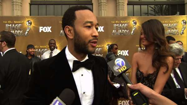 Musician John Legend speaks with On The Red Carpet's Rachel Smith at the 41st NAACP Image Awards.