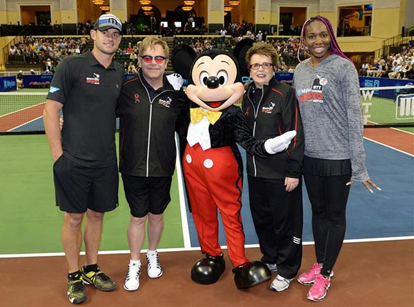 Andy Roddick, Elton John, Billie Jean King and Venus Williams pose with Mickey Mouse at the ESPN Wide World of Sports Complex at Walt Disney World in Lake Buena Vista, Florida on Sunday, Nov. 17, 2013.