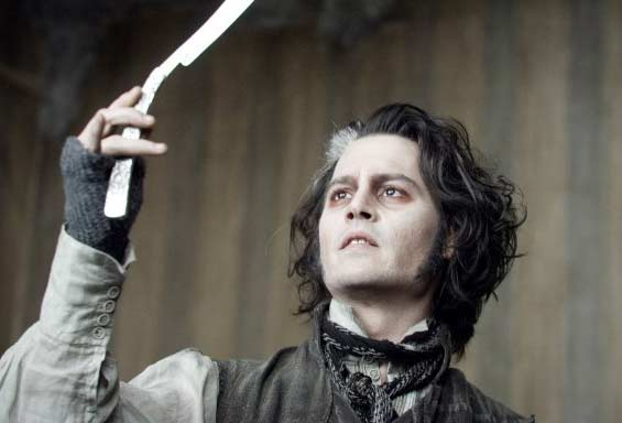 Actor Johnny Depp appears in a scene from the 2007 film 'Sweeney Todd,' where he plays a demonic barber based on the musical.