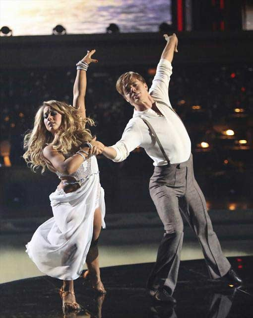 Shawn Johnson and Derek Hough appear in a still...