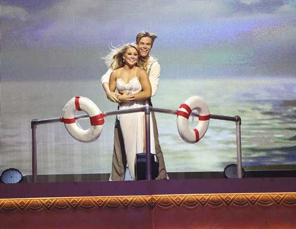Shawn Johnson and Derek Hough appear in a still from 'Dancing With The Stars: All-Stars' on October 23, 2012.