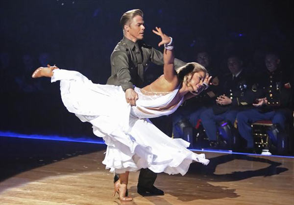 Olympic gymnast Shawn Johnson and her partner Derek Hough received 29.5 out of 30 points from the judges for their Viennese Waltz 