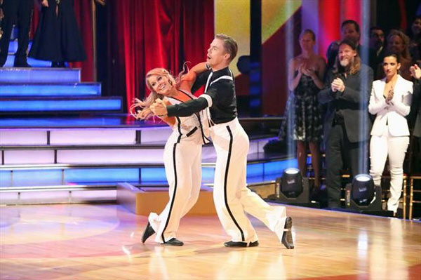 Olympic gymnast Shawn Johnson and her partner Derek Hough perform on 'Dancing With The Stars: The Results Show' on Tuesday, Oct. 9, 2012.