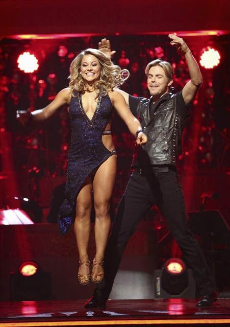 Shawn Johnson and Derek Hough react to being safe from elimination on &#39;Dancing With The Stars: The Results Show&#39; on November 20, 2012. The pair received 30 out of 30 points from the judges for their &#39;Knight Rider&#39; Bhanga and 29 out of 30 points for their Argentine Tango. <span class=meta>(ABC Photo)</span>